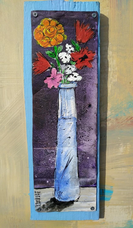Whimsical Rust Flower Vase