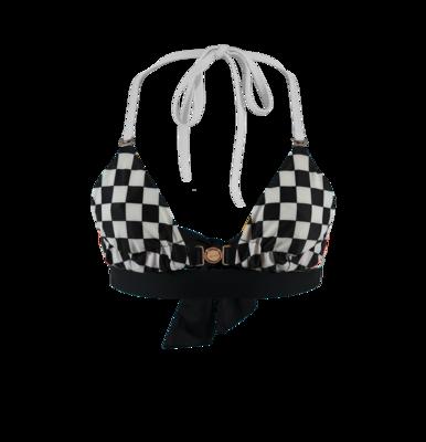 Black Wide Base Checkered Cups Bikini Top