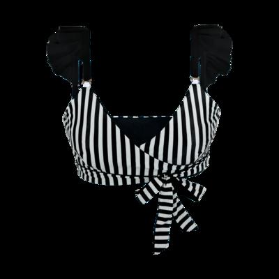 Black & White Striped X-Over Bikini Top