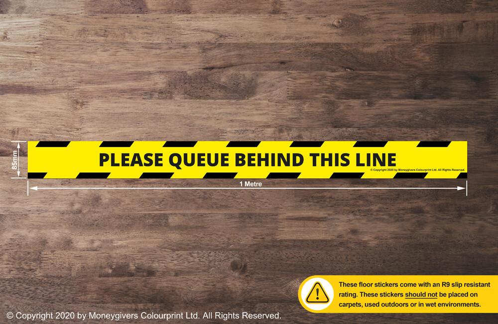 Please Queue Behind This Line (Floor Sticker)