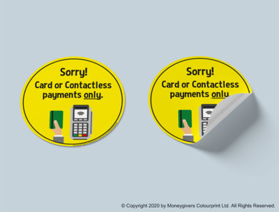 Card or Contactless Payments Only Sticker