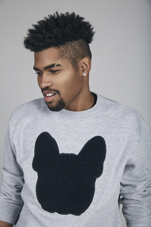 UNUSI Grey Sweatshirt With Black Fluffy Dog Head Design