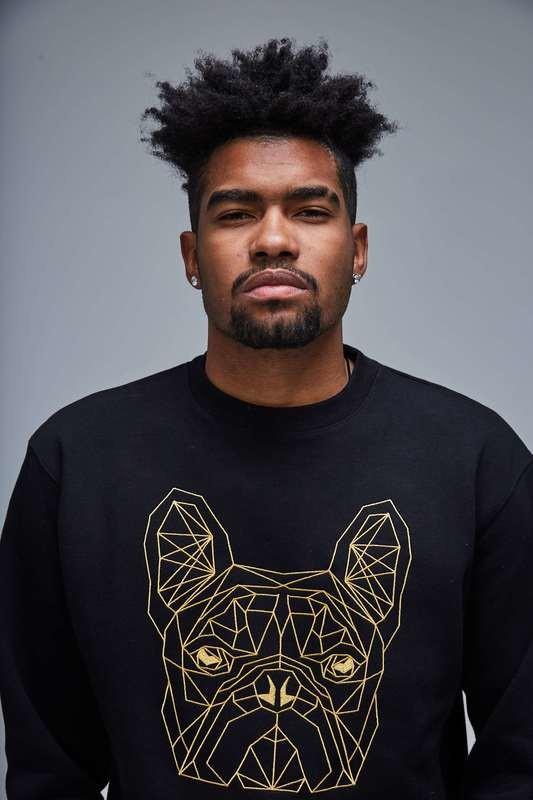 UNUSI Black Sweatshirt With Gold Dog Head Design