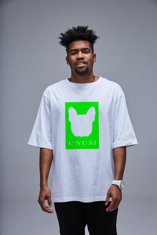 Unusi White T-shirt with green print design