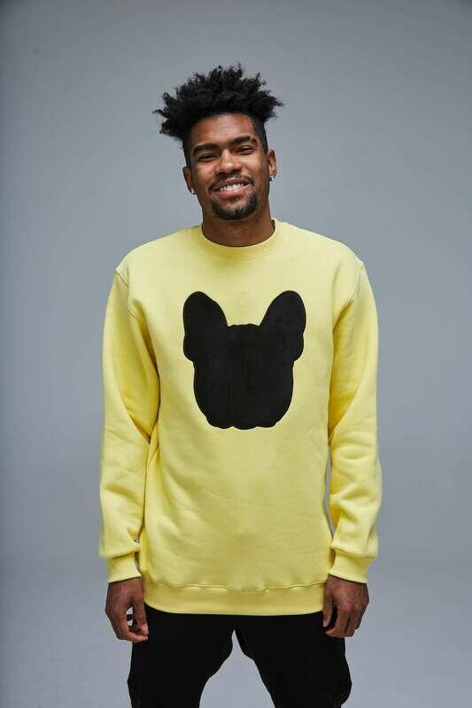 UNUSI Yellow Sweatshirt With Black Sewed Out Design