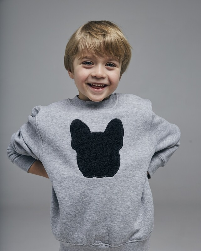 UNUSI KID Grey Sweatshirt With Black Fluffy Logo