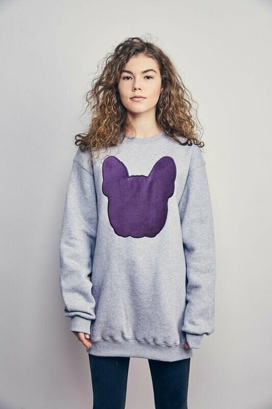 UNUSI Grey Sweatshirt With Purple Fluffy Logo