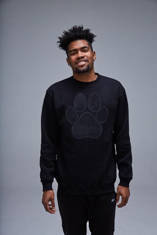 UNUSI Black Sweatshirt With Black Paw Design