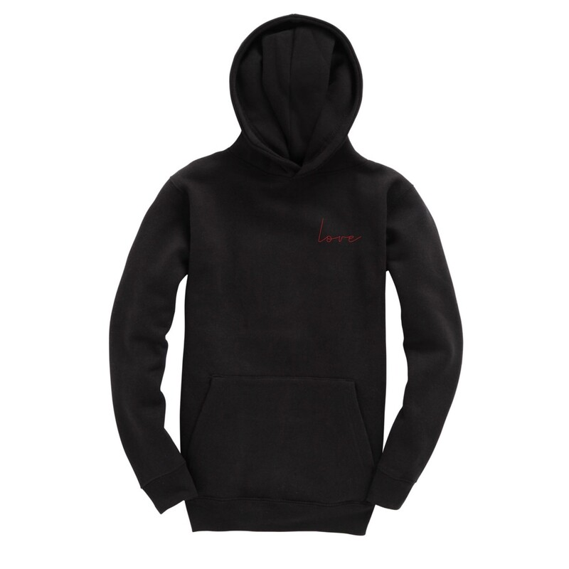 UNUSI Black Hooded Sweatshirt With Red Sewed Out LOVE and DOG head Design