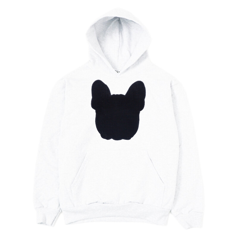 UNUSI White Hooded Sweatshirt With Sewed Out Design