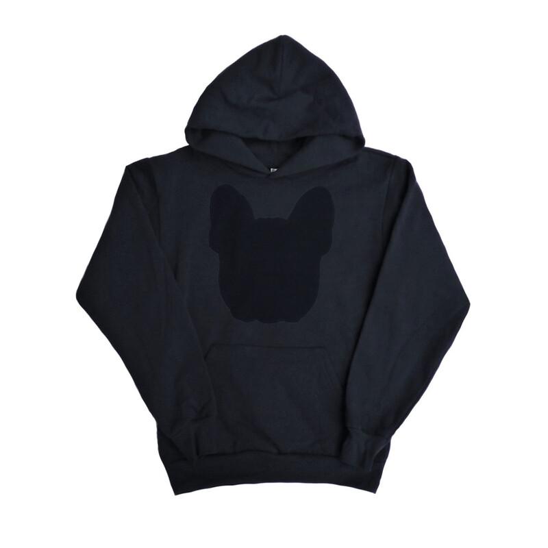 UNUSI Black Hooded Sweatshirt With Black DOG head Design