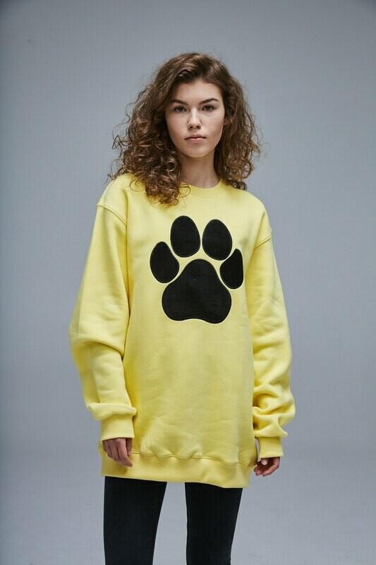 UNUSI Yellow Sweatshirt With Black Sewed Out Paw Design