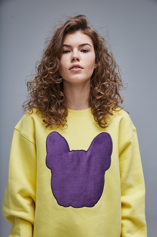 UNUSI Yellow Sweatshirt With Violet Sewed Out Head Design