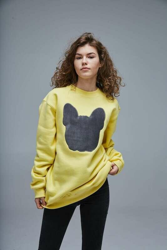 UNUSI Yellow Sweatshirt With Grey Sewed Out Head Design