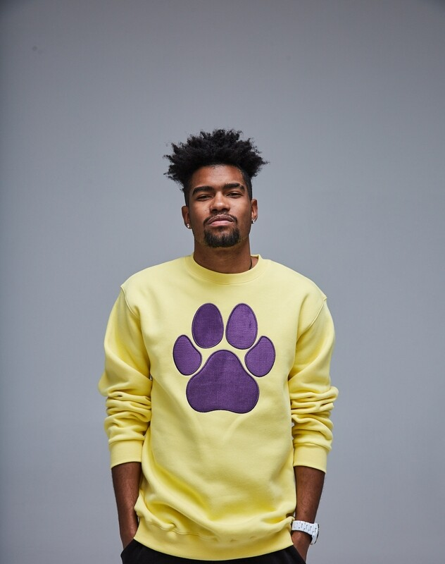 UNUSI Yellow Sweatshirt With Violet Sewed Out Paw Design