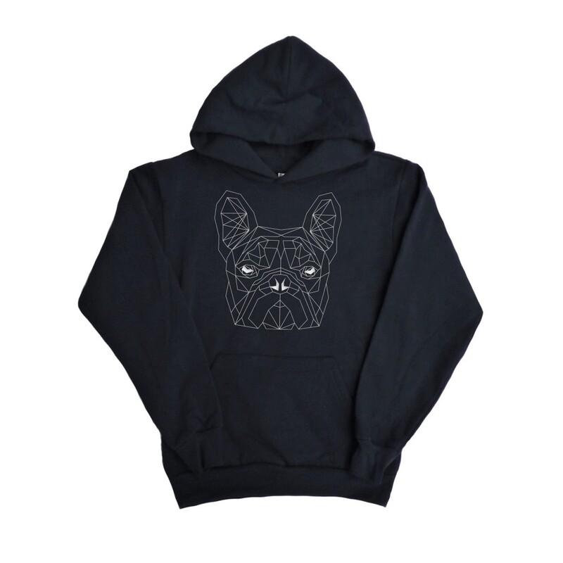 UNUSI Oversize Black Hooded Sweatshirt With White DOG head Design