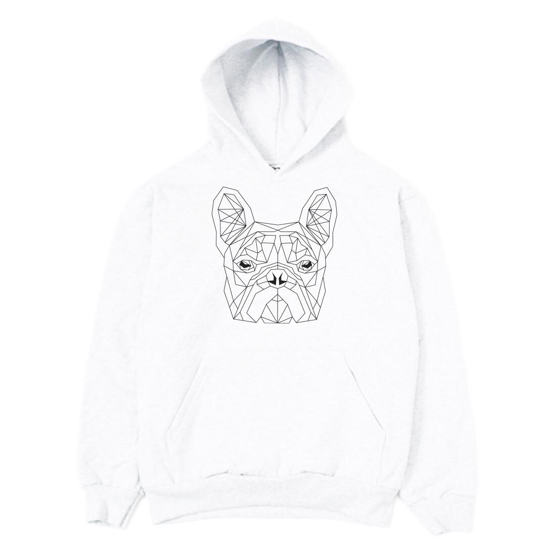 UNUSI Oversize White Hooded Sweatshirt With White DOG head Design