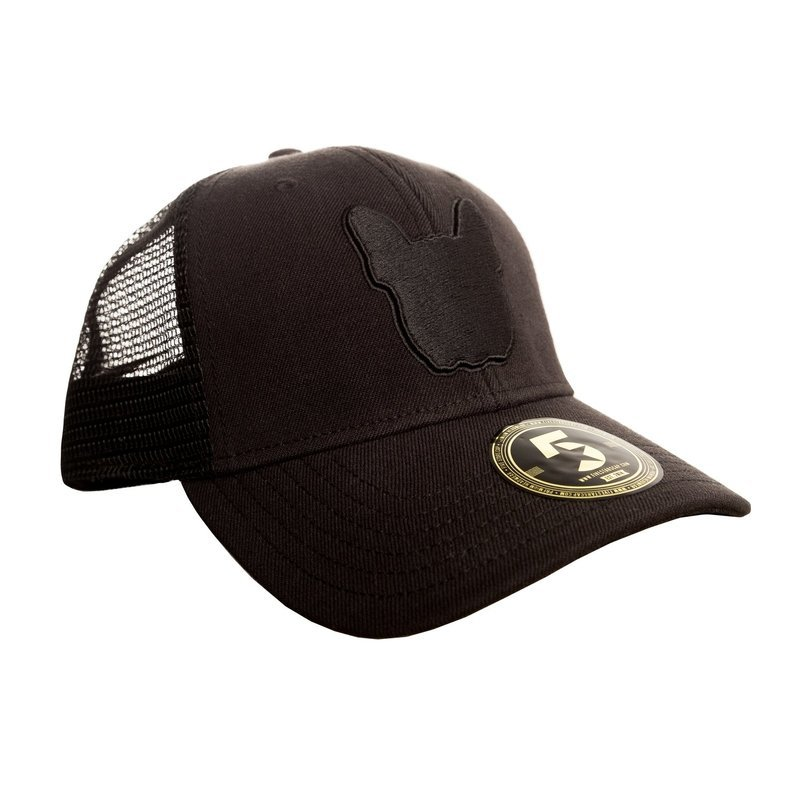 UNUSI Black Trucker Cap With Black Logo