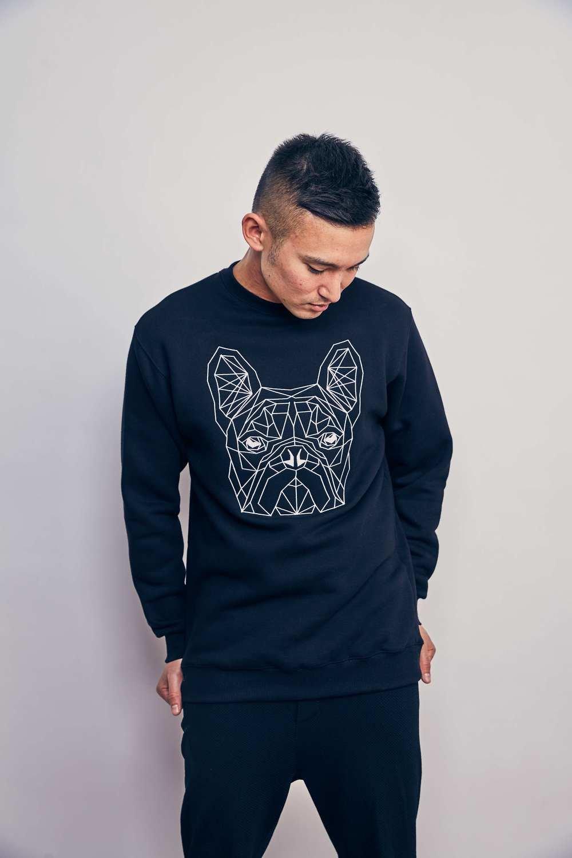 UNUSI Black Sweatshirt With White Dog Head Design