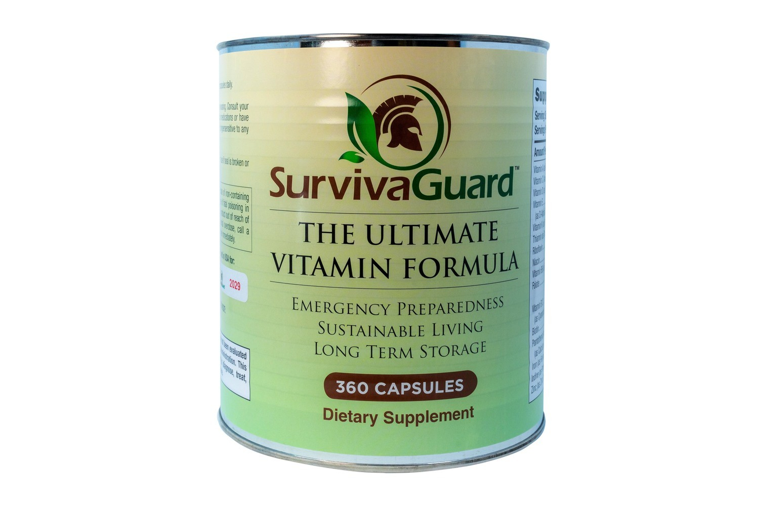 360 Capsule SurvivaGuard #10 Can 6 Month Supply for Long Term Storage