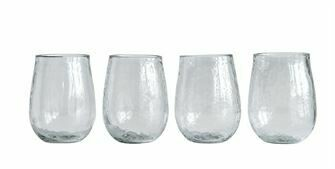 Recycled Glass Stemless Wine Glasses - Set of 4