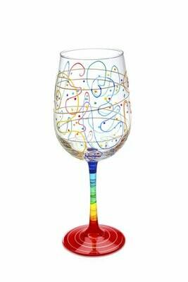 Handpainted Rainbow Wine Glass