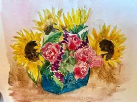 Sunflowers, 4 x 5, unframed, original whiskey painting