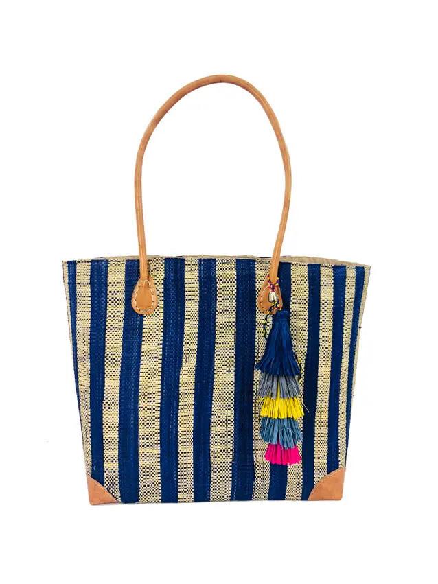Trinidad Stripes Straw Beach Bag