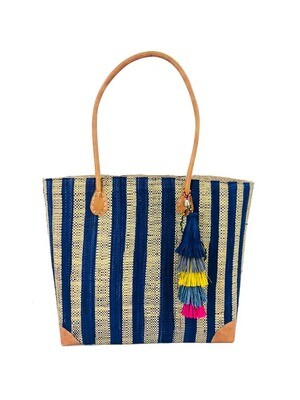 Trinidad Stripes Straw Beach Bag