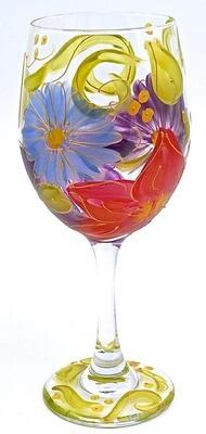 Julia Hand Painted Wine Glass
