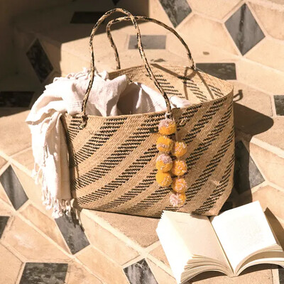 Straw Tote with Marigold Pom-poms