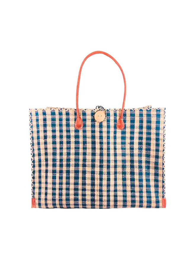 Gingham Straw Beach Bag