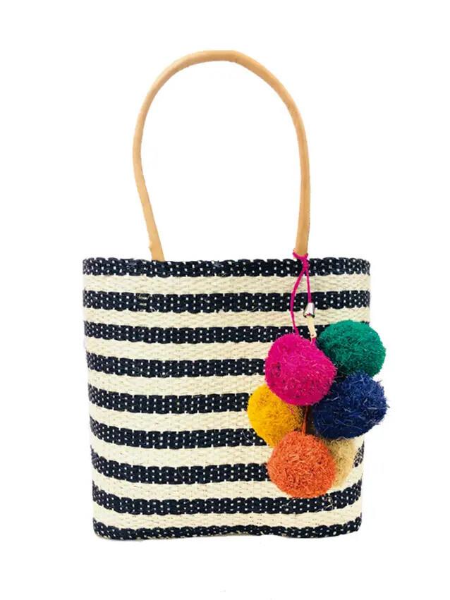 Cabrillo Striped Straw Bag