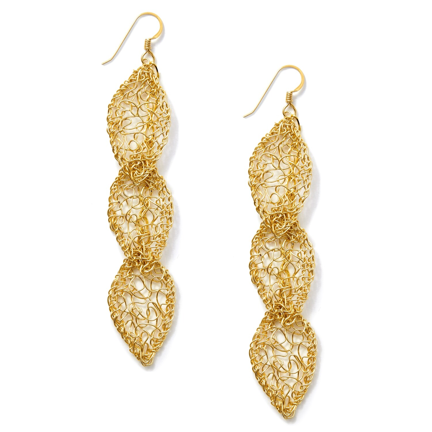 Triple Gold Leaf Dangle Earrings