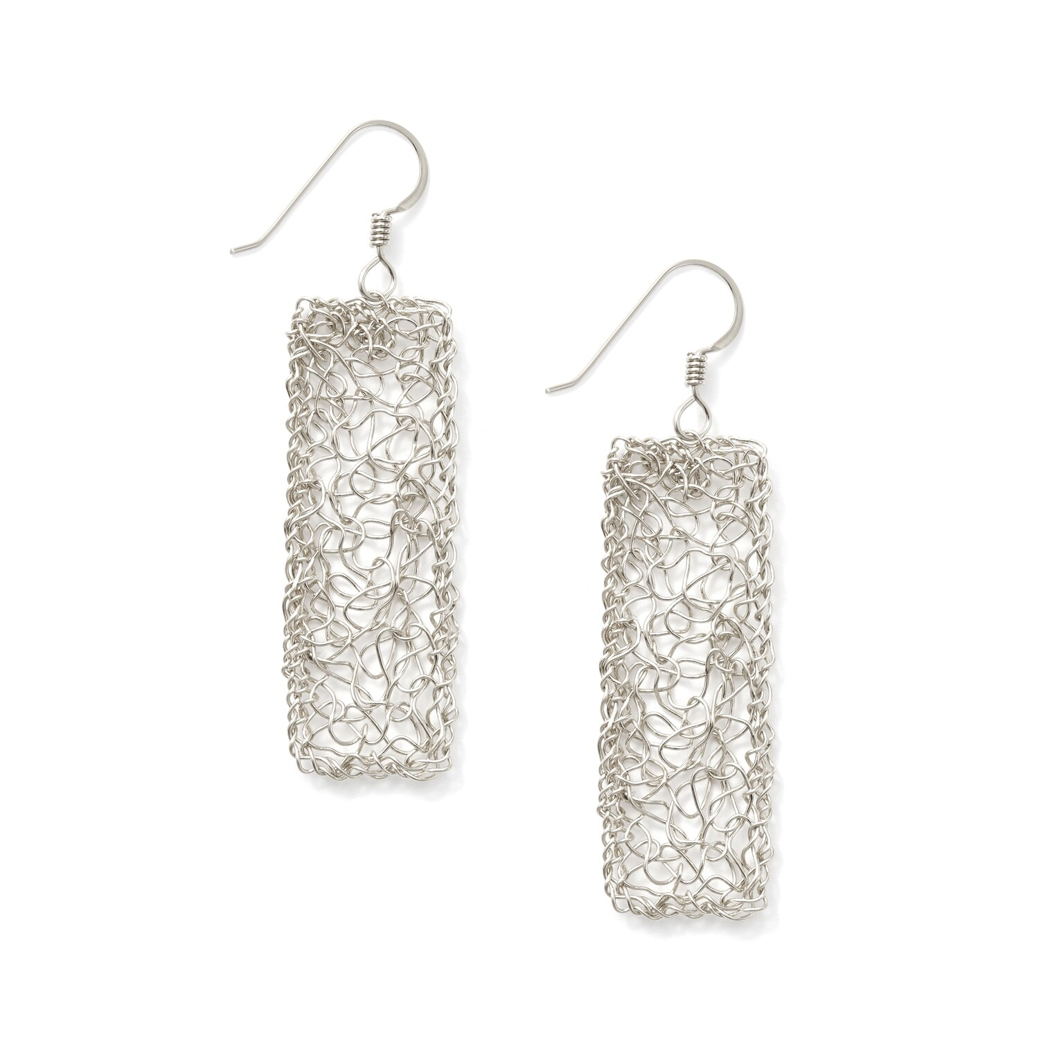 Contemporary Sterling Tower Earrings