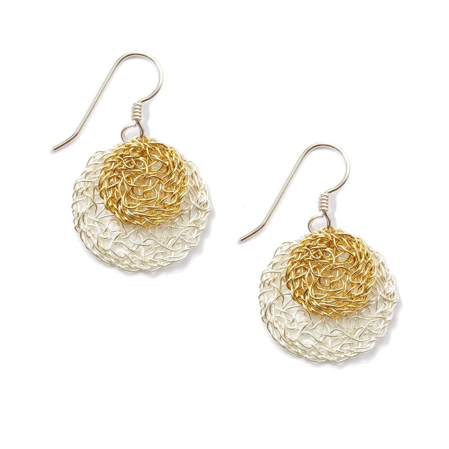 Sterling Silver & Gold Circle Earrings