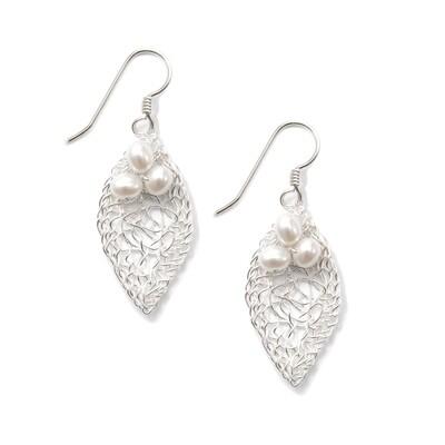 Silver Leaf & Pearls Earring