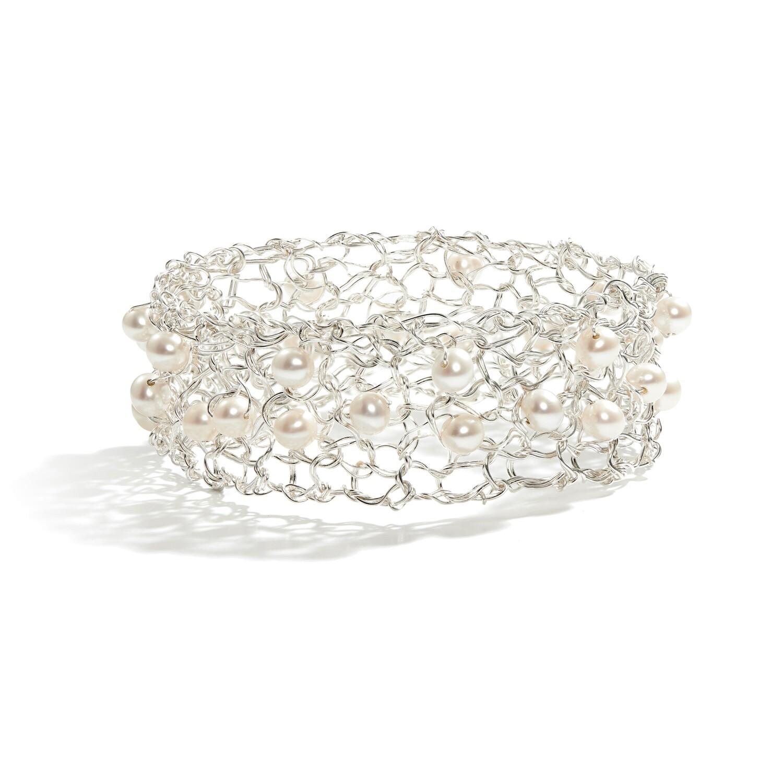 Silver & Pearls Bangle Bracelet