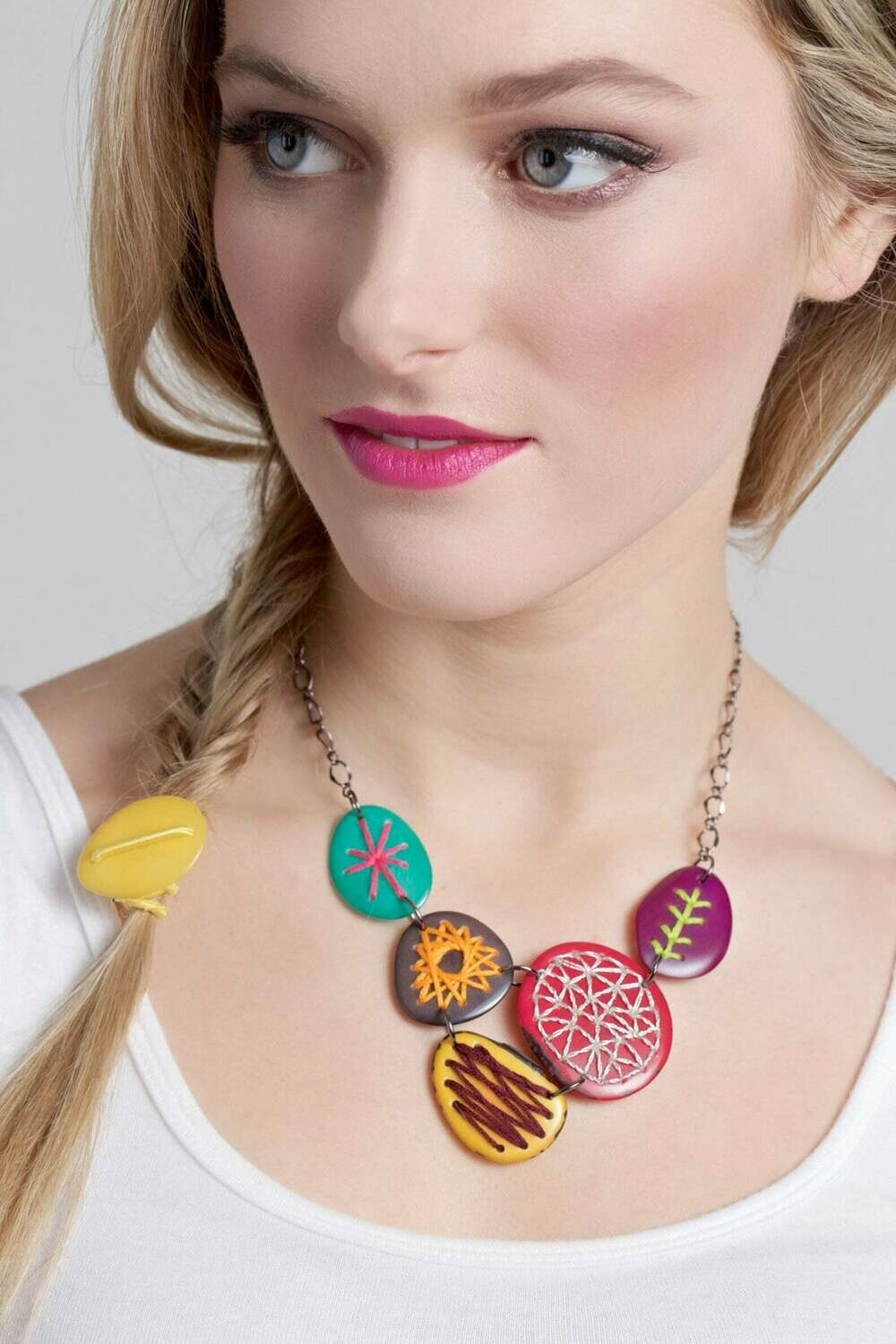 Embroidered Tagua Nut Necklace