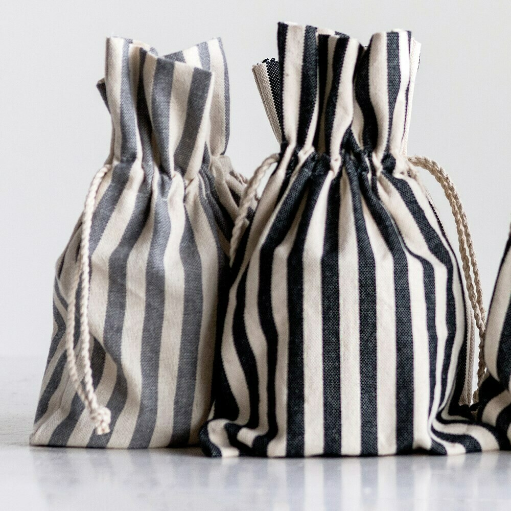 Clear Glass Candle in Striped Bag