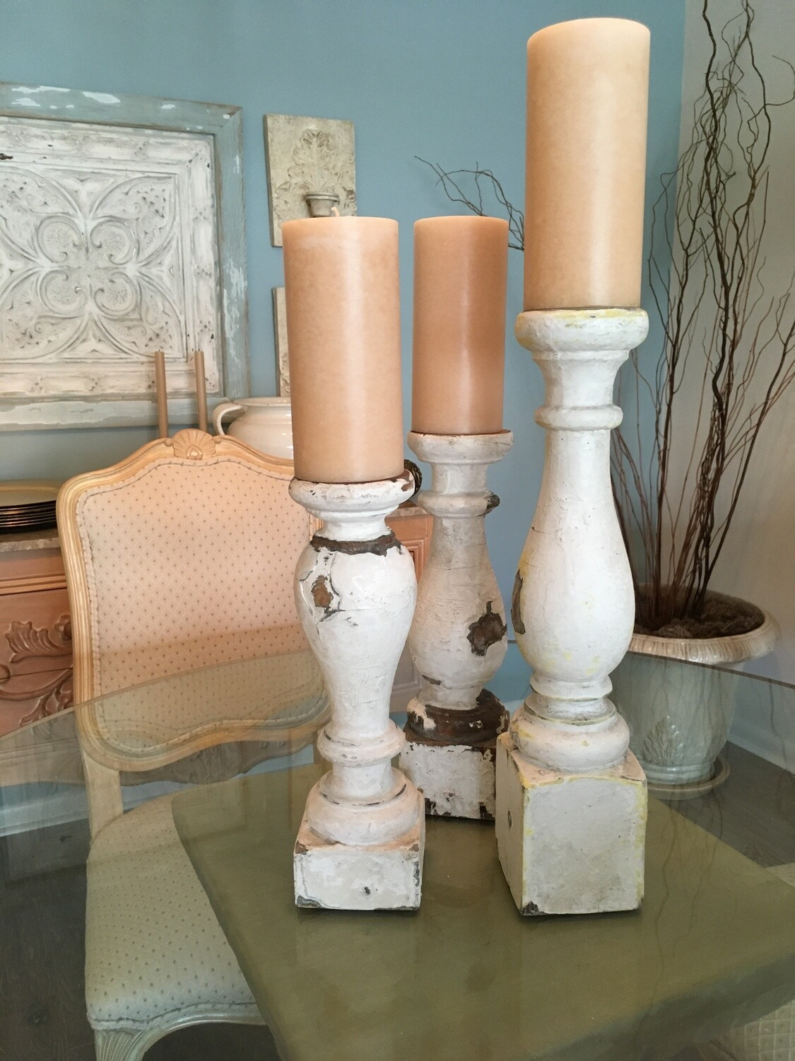 Distressed White Candle Holders