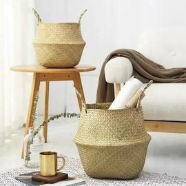 Handwoven Seagrass Boho Basket