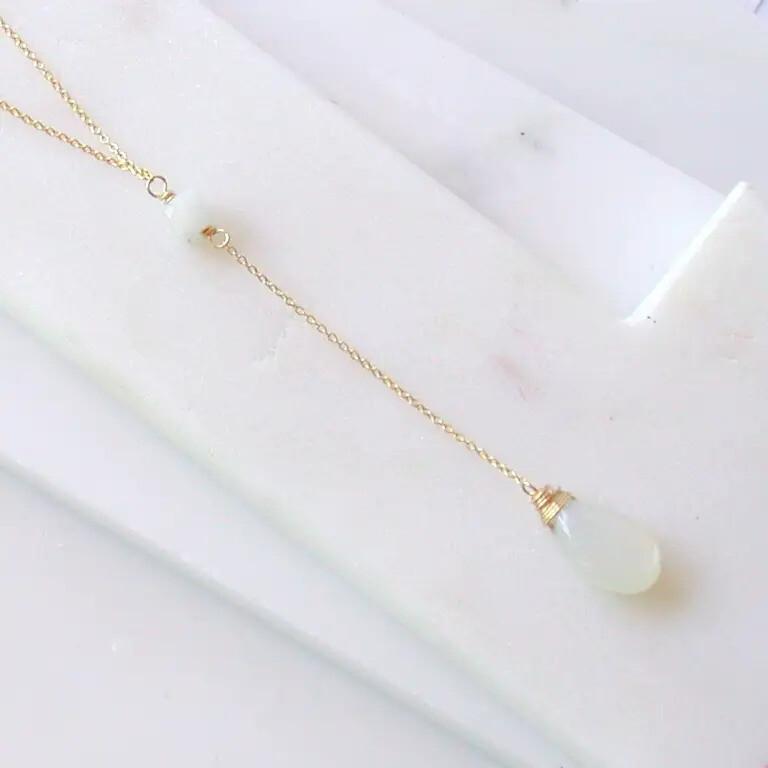 """Moonstone """"Y"""" Necklace"""