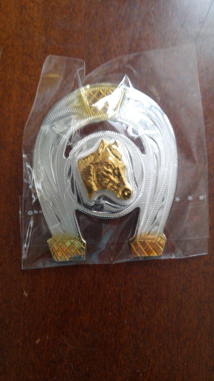Horse Shoe Head Horse Head Silver Bolo Tie