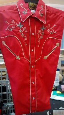 Red Gold Embroider Western Shirt