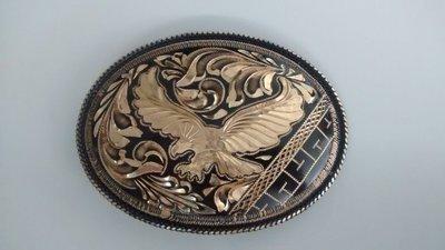 Oval Black/Gold Eagle Buckle