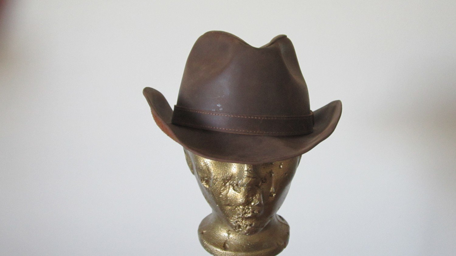 French Western Brown Leather Hat