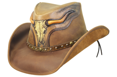 Tumble Weed Brown Leather Hat