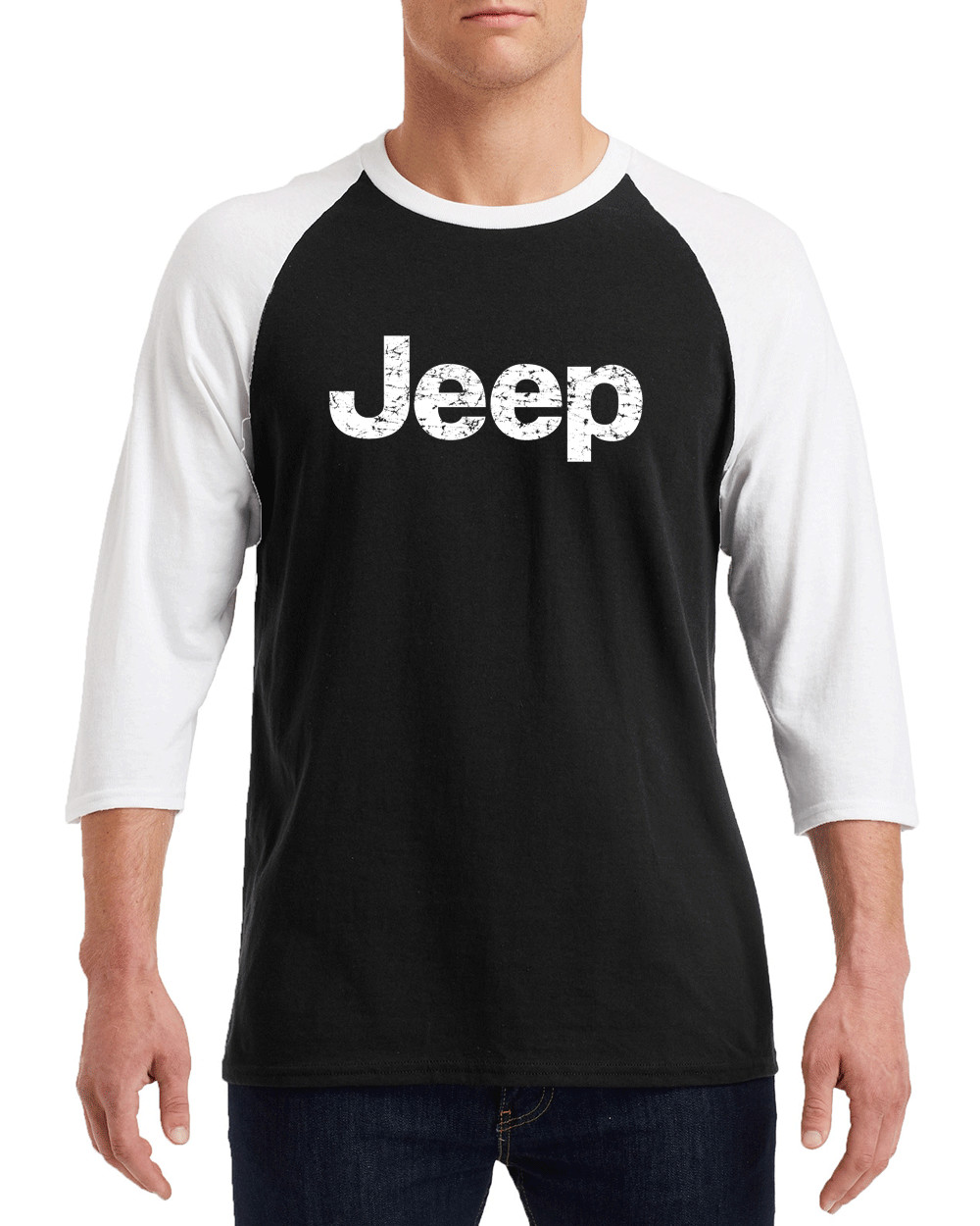 "JEEP White Distress Logo Gildan G570 3/4 Sleeve Shirt ""FREE SHIPPING"""
