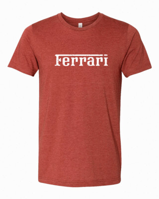 Ferrari White Distress Logo Bella Canvas T-shirt